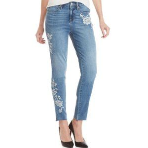 NWT Nicole Miller Embroidered Soho High-rise Jeans